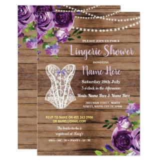 Corset Lingerie Shower Wood Flowers Invite Purple