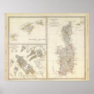 Corsica, Sardinia, Balearic Islands, Valletta Poster