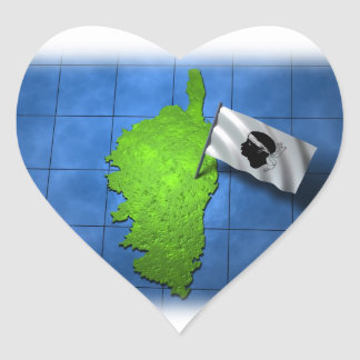 Corsica with its own flag heart sticker