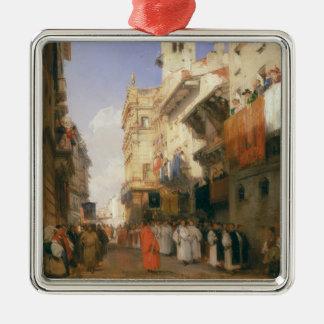 Corso Sant'Anastasia, Verona (oil on panel) Silver-Colored Square Decoration