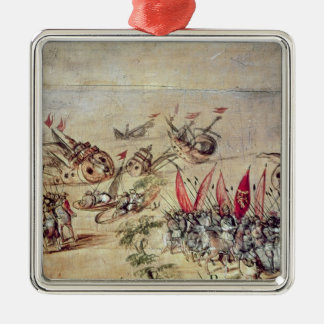 Cortes sinking his fleet off the coast of christmas ornament