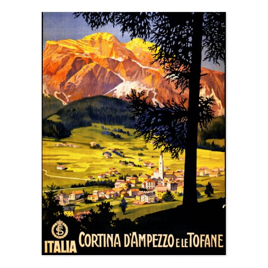 Cortina d Ampezzo Italy Vintage Poster Restored Postcard