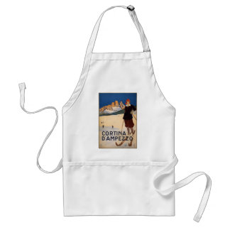 Cortina d Ampezzo Vintage Travel Poster Art Aprons