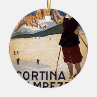 Cortina d'Ampezzo Round Ceramic Decoration