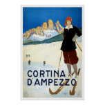 """Cortina d'Ampezzo"" Vintage Travel Poster"