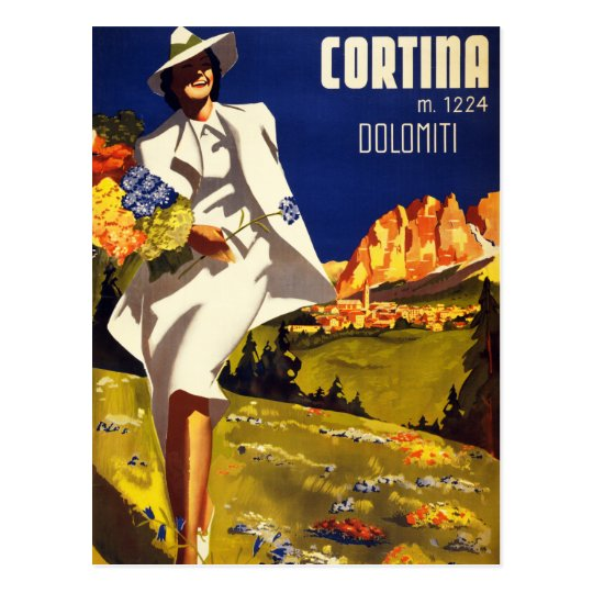 Cortina Dolomiti Italy Vintage Poster Restored Postcard