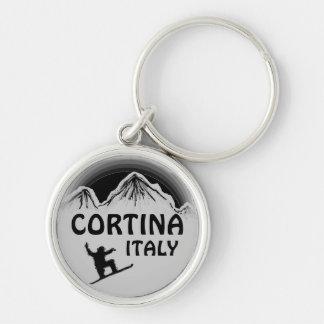 Cortina Italy black gray snowboard art keychain