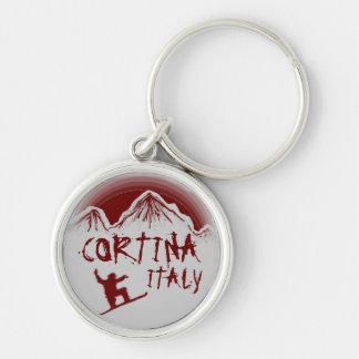 Cortina Italy red gray snowboard art keychain