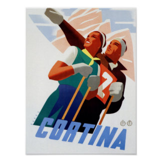 Cortina Vintage Italian travel ski winter sport Poster