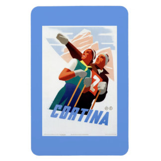 Cortina Vintage Italian travel ski winter sport Rectangular Photo Magnet