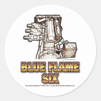Corvette Engine Blue Flame Six Round Sticker