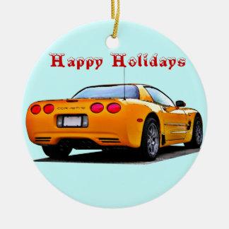 Corvette Happy Holidays Christmas Ornament