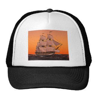 Corvette Sailing Ship at Sunset Mesh Hats