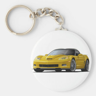 Corvette ZR1 Yellow Car Basic Round Button Key Ring