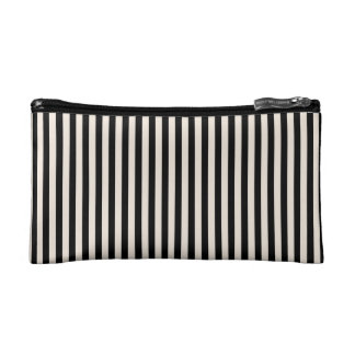 Cosmetic Bag. Black, Cream Medium Vertical Stripes Cosmetic Bag