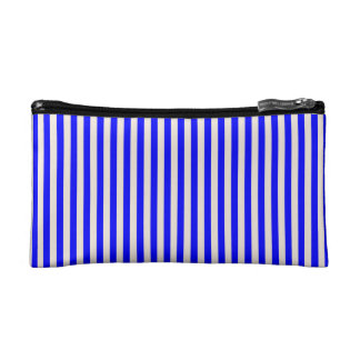 COSMETIC BAG. BLUE, CREAM MEDIUM VERTICAL STRIPES. MAKEUP BAG