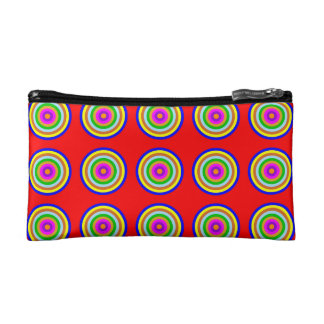 COSMETIC BAG. Coloured Circles on Red Background. Cosmetic Bag