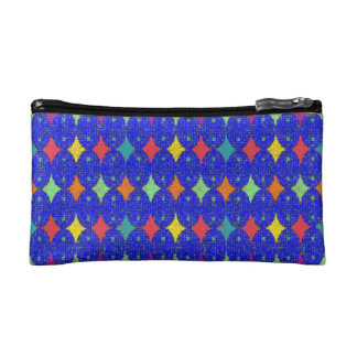 COSMETIC BAG. COLOURED STARS - BLUE BACKGROUND. MAKEUP BAG