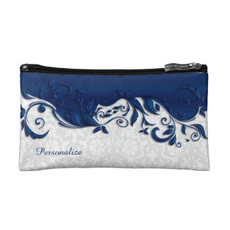 Cosmetic Bag - Elegant Navy Blue and White Damask