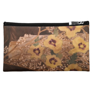 Cosmetic Bag Flowers within a Log