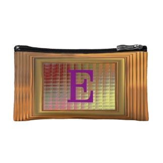 Cosmetic Bag. Gold Frame, Purple Initials - E. Cosmetic Bag