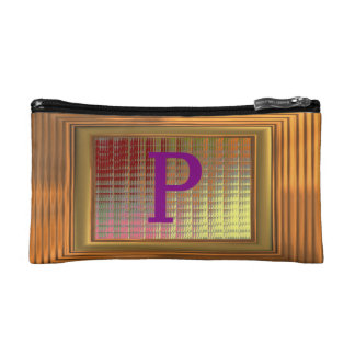 Cosmetic Bag. Gold Frame, Purple Initials - P. Cosmetic Bag