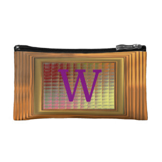 Cosmetic Bag. Gold Frame, Purple Initials - W. Cosmetic Bag