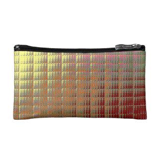 COSMETIC BAG. GOLD SQUARES (textured effect). Makeup Bag