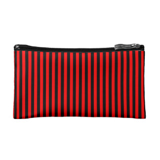 Cosmetic Bag. Red, Black Medium Vertical Stripes. Makeup Bag