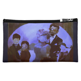 Cosmetic Bag w. Painting 'Family Portrait' Purple