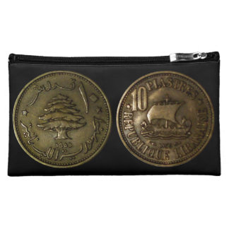 Cosmetic Bag with a Lebanon 10 Piasters Coin 1955