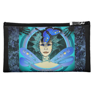 Cosmetic Bag With Two Different Turquoise Fairies