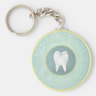 Cosmetic & General Dentist Gold Turquoise Damask Basic Round Button Key Ring