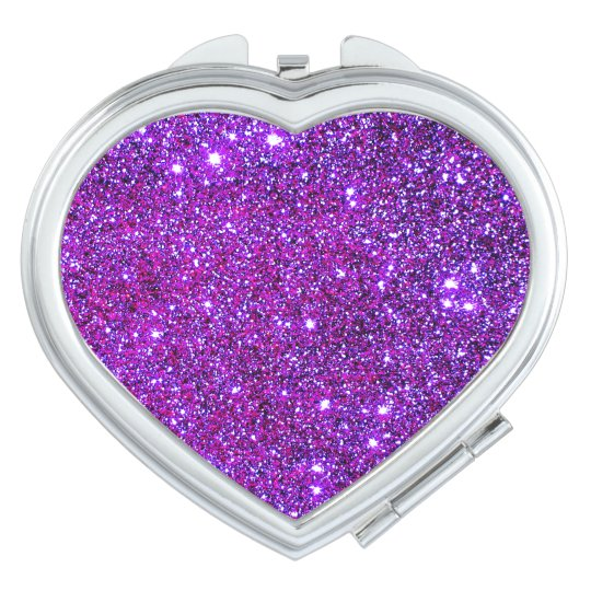 Cosmetic Mirror Hot Pink Sparkly Heart 4 Vanity