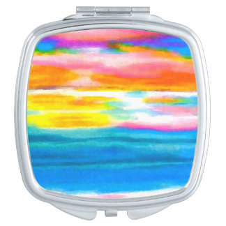 Cosmetic Mirror Summer Ocean Beach Sunrise Makeup Mirrors