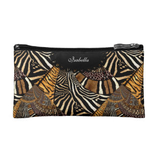 Cosmetic Mixed Animal Zebra Leopard Tiger Print Cosmetic Bag