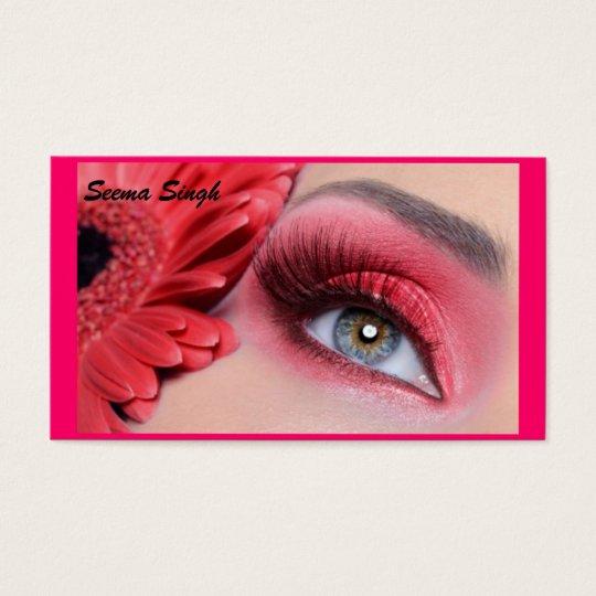 cosmetics makeup artist peach flower business card