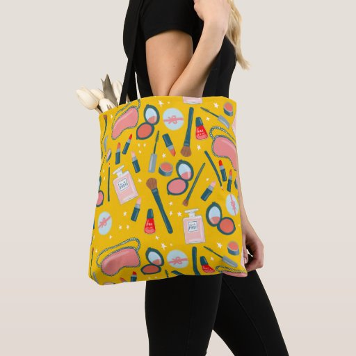 Cosmetics makeup pattern yellow Tote Bag