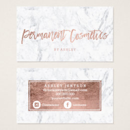 Permanent makeup business cards business card printing zazzle uk cosmetics rose gold typography white marble business card colourmoves