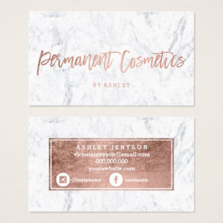Cosmetics rose gold typography white marble business card
