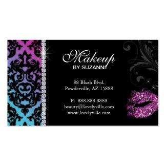 Cosmetologist Business Card Damask Blue Pink