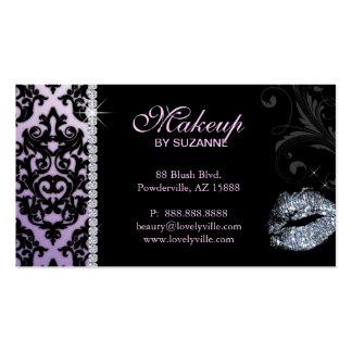 Cosmetologist Business Card Damask Glitter Purple