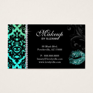 Cosmetologist Business Card Damask Glitter Teal
