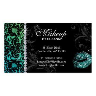 Cosmetologist Business Card Floral Glitter Teal
