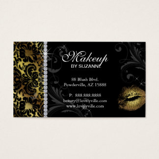 Cosmetologist Business Card Floral Gold
