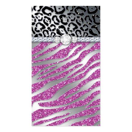 Cosmetologist Business Card Glitter Zebra PB