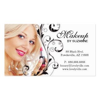 Cosmetologist Business Card Lipstick Woman Black