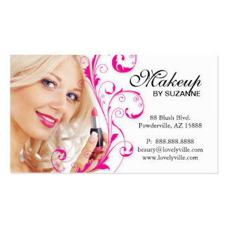 Cosmetologist Business Card Lipstick Woman Pink