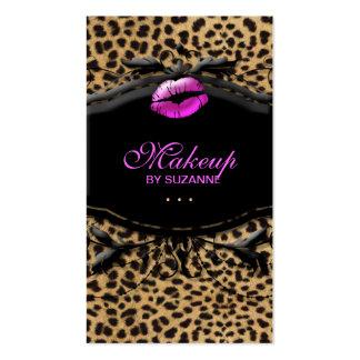 Cosmetologist Business Card Makeup Lips Leopard