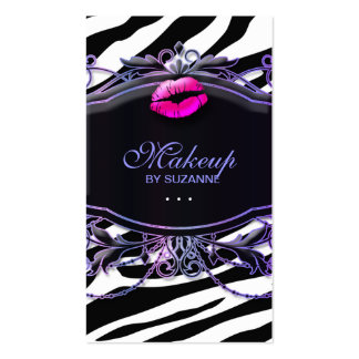 Cosmetologist Business Card Makeup Lips Zebra